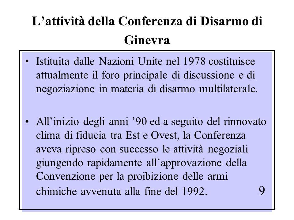 L'attività della Conferenza di Disarmo di Ginevra