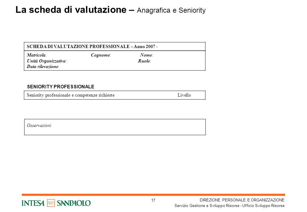 La scheda di valutazione – Anagrafica e Seniority