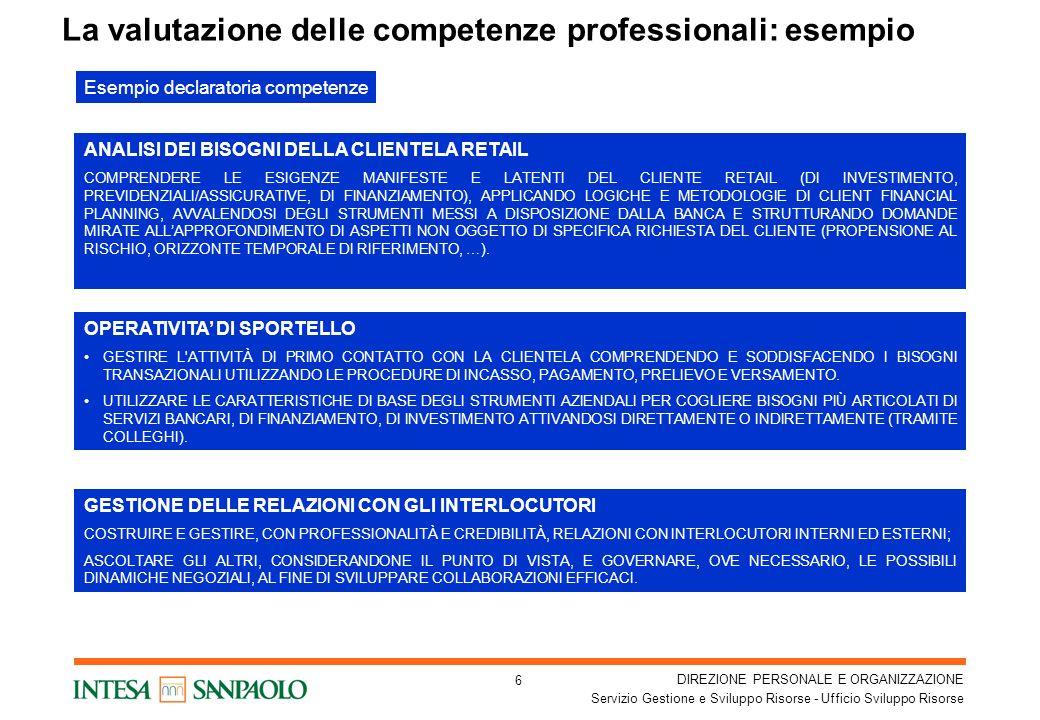La valutazione delle competenze professionali: esempio