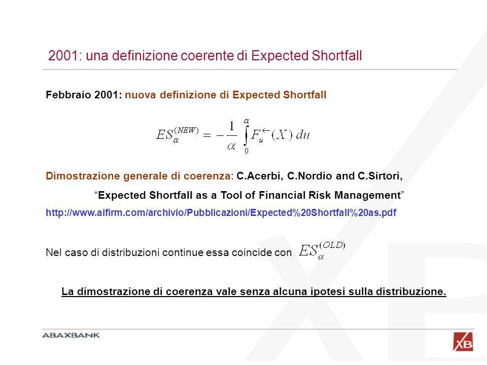 2001: una definizione coerente di Expected Shortfall