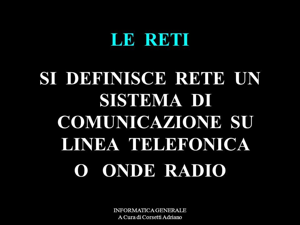 SI DEFINISCE RETE UN SISTEMA DI COMUNICAZIONE SU LINEA TELEFONICA