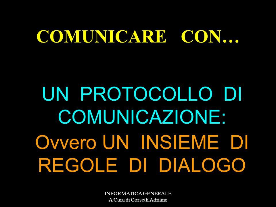 UN PROTOCOLLO DI COMUNICAZIONE: Ovvero UN INSIEME DI REGOLE DI DIALOGO