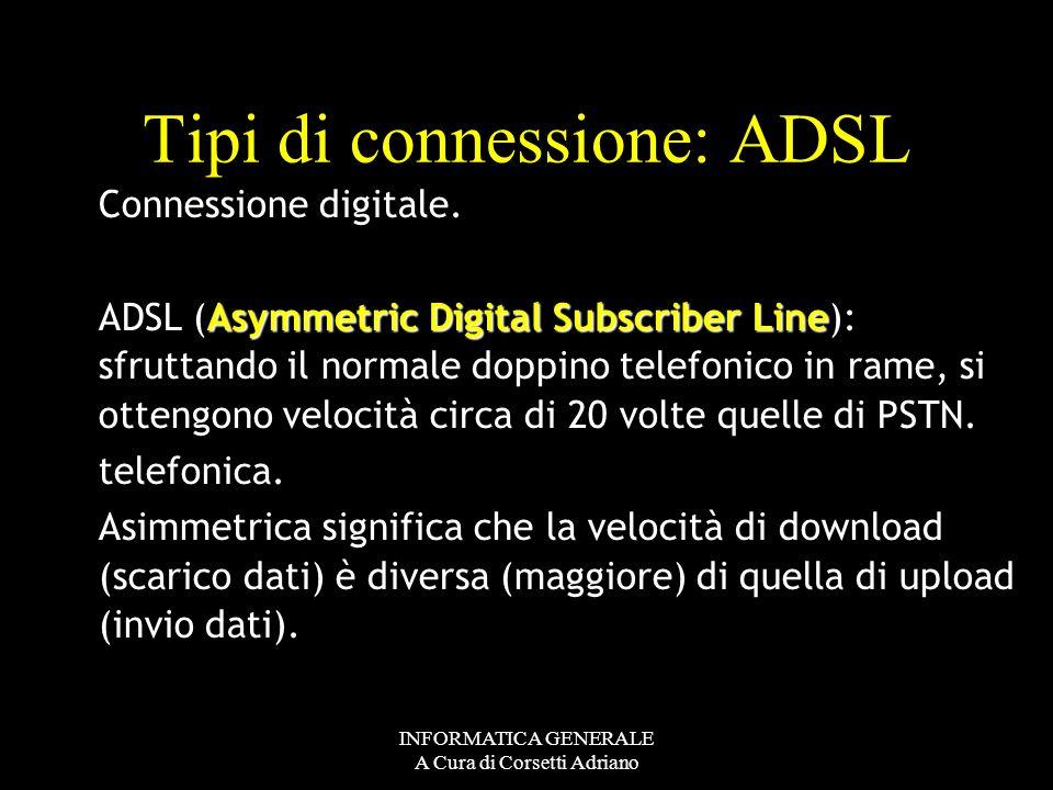 Tipi di connessione: ADSL