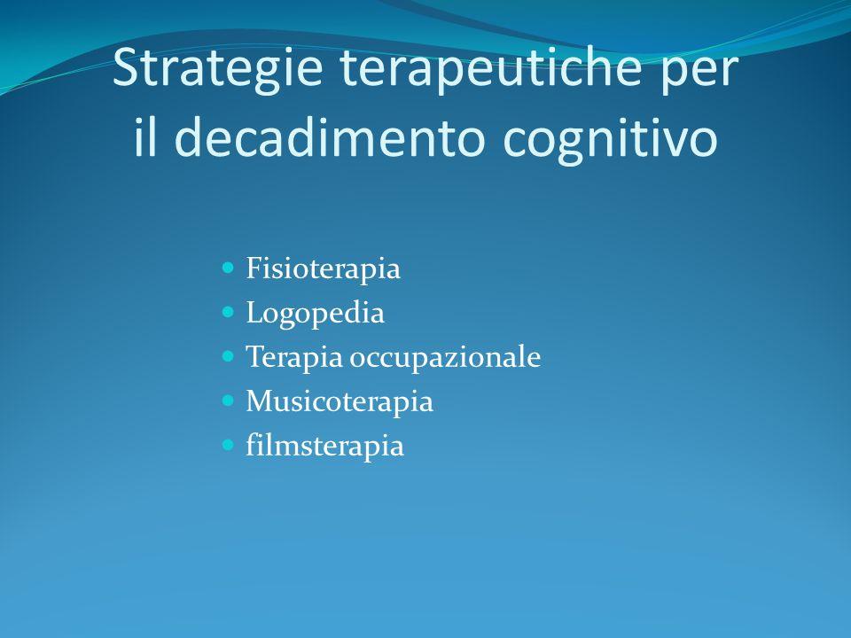 Strategie terapeutiche per il decadimento cognitivo