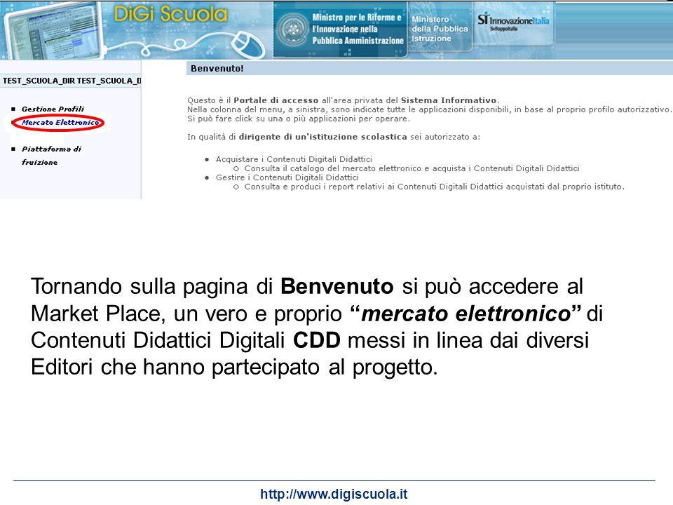 Tornando sulla pagina di Benvenuto si può accedere al Market Place, un vero e proprio mercato elettronico di Contenuti Didattici Digitali CDD messi in linea dai diversi Editori che hanno partecipato al progetto.