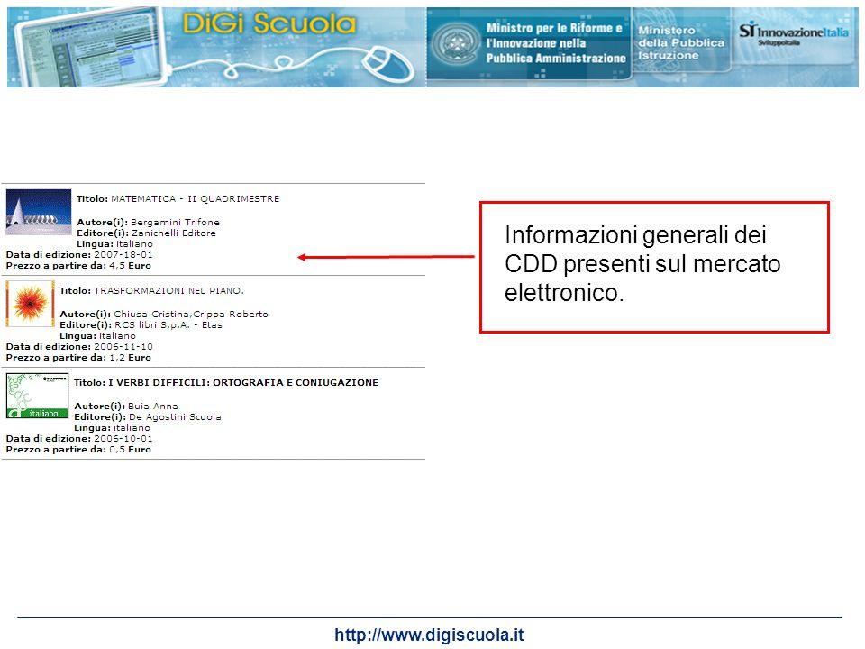 Informazioni generali dei CDD presenti sul mercato elettronico.