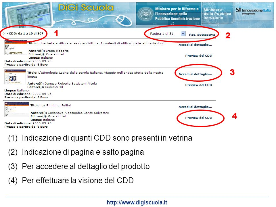12. 3. 4. Indicazione di quanti CDD sono presenti in vetrina. Indicazione di pagina e salto pagina.
