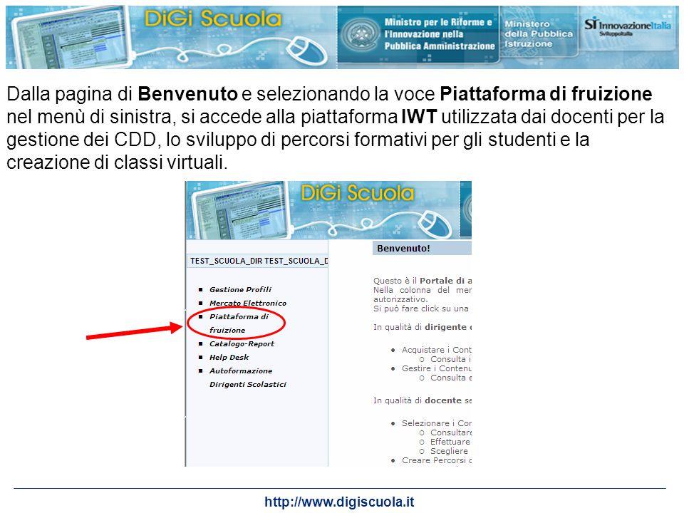Dalla pagina di Benvenuto e selezionando la voce Piattaforma di fruizione nel menù di sinistra, si accede alla piattaforma IWT utilizzata dai docenti per la gestione dei CDD, lo sviluppo di percorsi formativi per gli studenti e la creazione di classi virtuali.