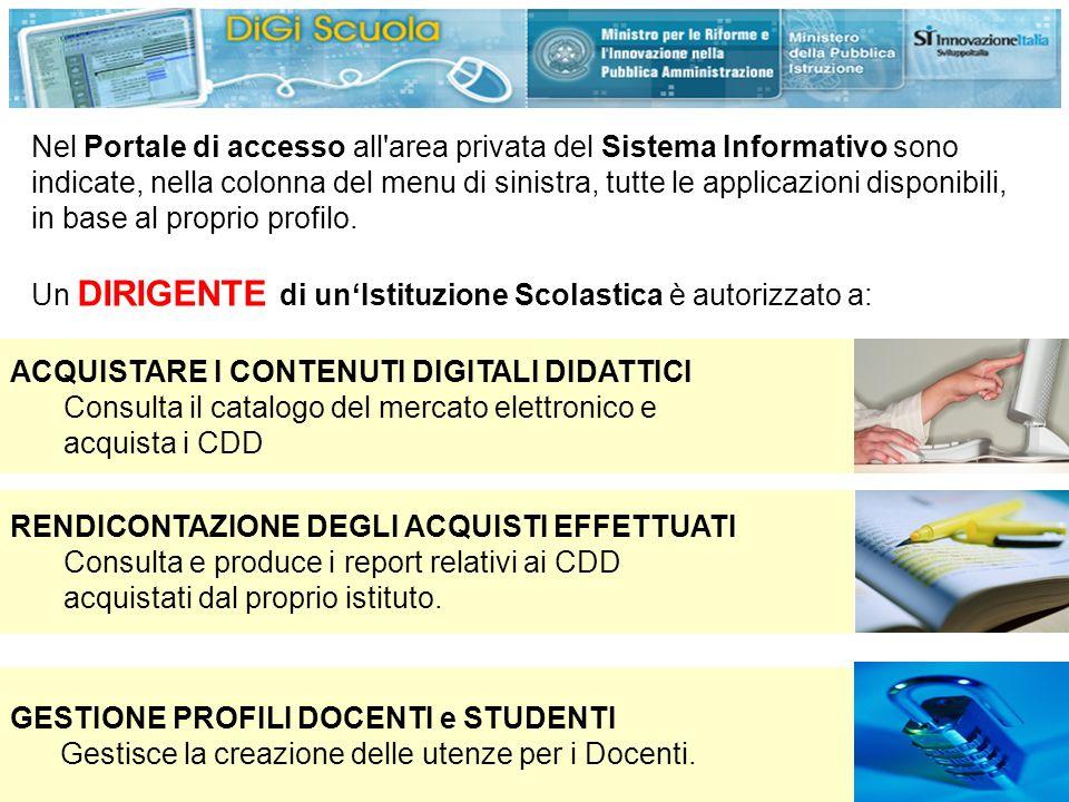 Nel Portale di accesso all area privata del Sistema Informativo sono indicate, nella colonna del menu di sinistra, tutte le applicazioni disponibili, in base al proprio profilo.