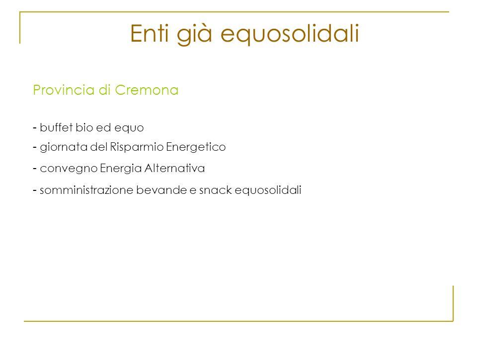 Enti già equosolidali Provincia di Cremona - buffet bio ed equo