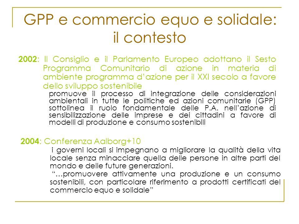GPP e commercio equo e solidale: il contesto