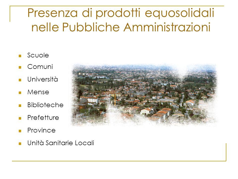 Presenza di prodotti equosolidali nelle Pubbliche Amministrazioni
