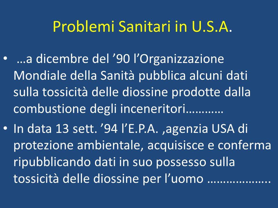 Problemi Sanitari in U.S.A.