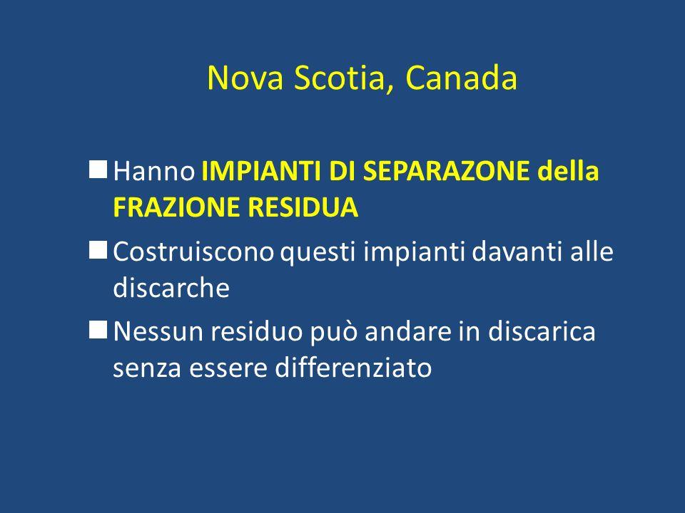 Nova Scotia, CanadaHanno IMPIANTI DI SEPARAZONE della FRAZIONE RESIDUA. Costruiscono questi impianti davanti alle discarche.