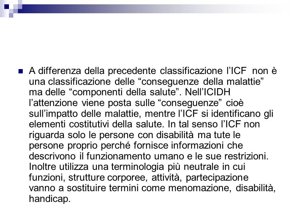 A differenza della precedente classificazione l'ICF non è una classificazione delle conseguenze della malattie ma delle componenti della salute .