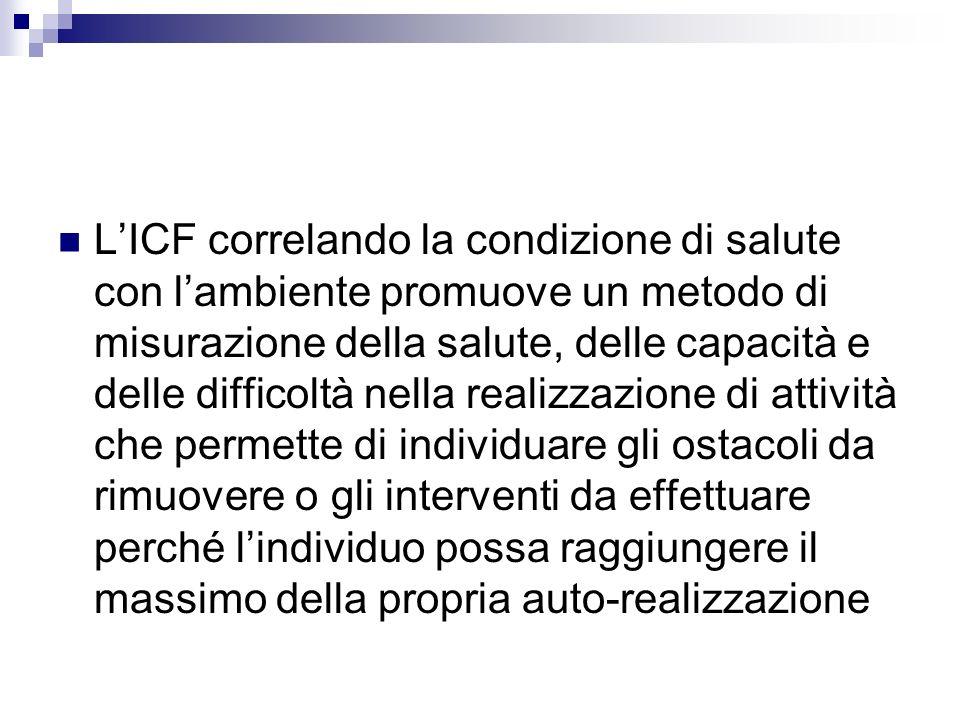 L'ICF correlando la condizione di salute con l'ambiente promuove un metodo di misurazione della salute, delle capacità e delle difficoltà nella realizzazione di attività che permette di individuare gli ostacoli da rimuovere o gli interventi da effettuare perché l'individuo possa raggiungere il massimo della propria auto-realizzazione