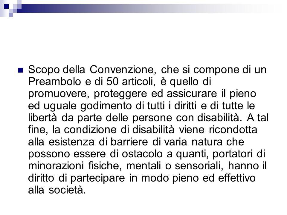 Scopo della Convenzione, che si compone di un Preambolo e di 50 articoli, è quello di promuovere, proteggere ed assicurare il pieno ed uguale godimento di tutti i diritti e di tutte le libertà da parte delle persone con disabilità.