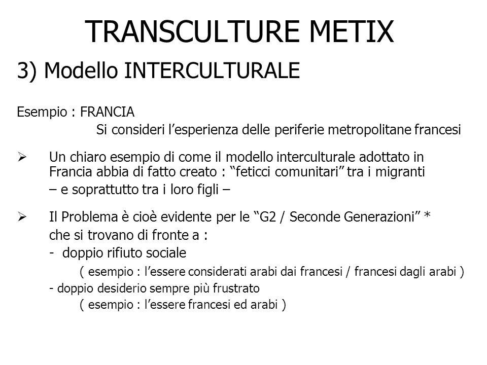TRANSCULTURE METIX 3) Modello INTERCULTURALE Esempio : FRANCIA