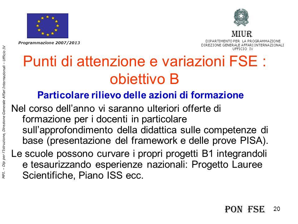 Punti di attenzione e variazioni FSE : obiettivo B
