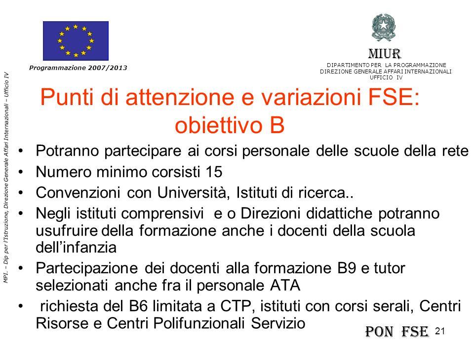 Punti di attenzione e variazioni FSE: obiettivo B
