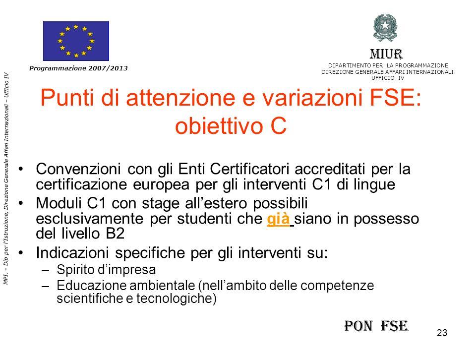 Punti di attenzione e variazioni FSE: obiettivo C