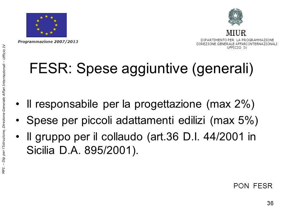 FESR: Spese aggiuntive (generali)
