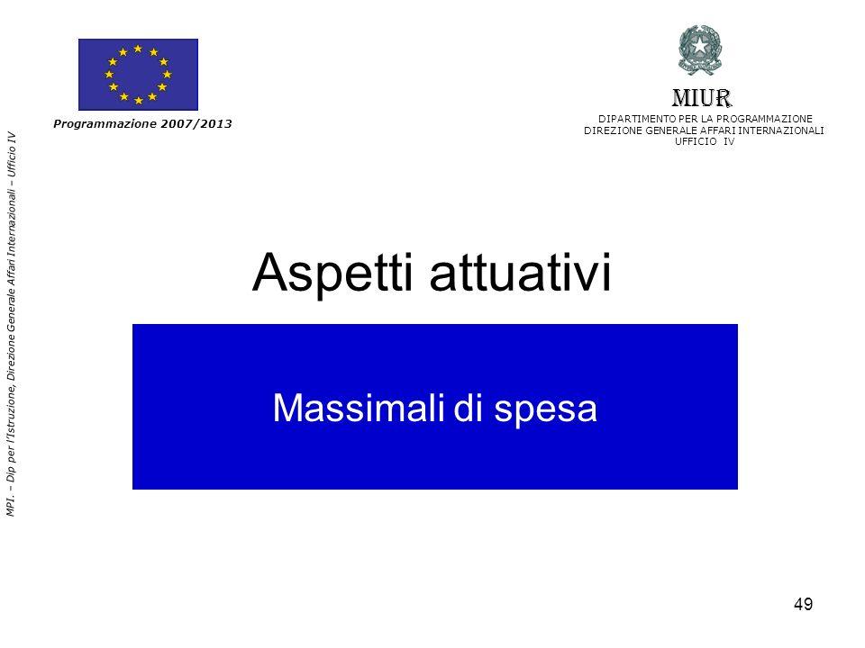 Aspetti attuativi Massimali di spesa MIUR Programmazione 2007/2013