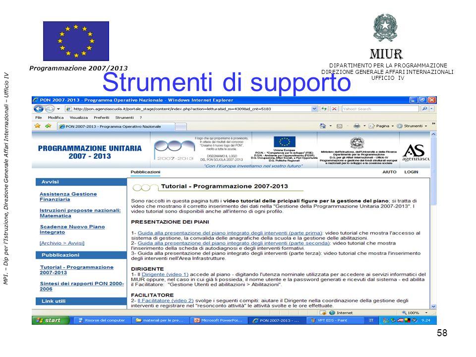 Strumenti di supporto MIUR Programmazione 2007/2013
