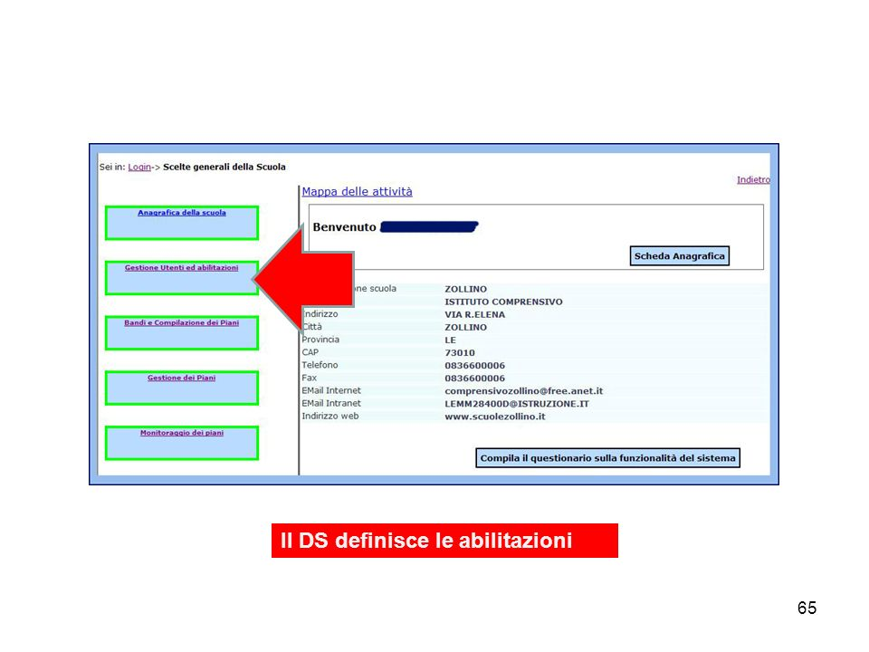 Il DS definisce le abilitazioni