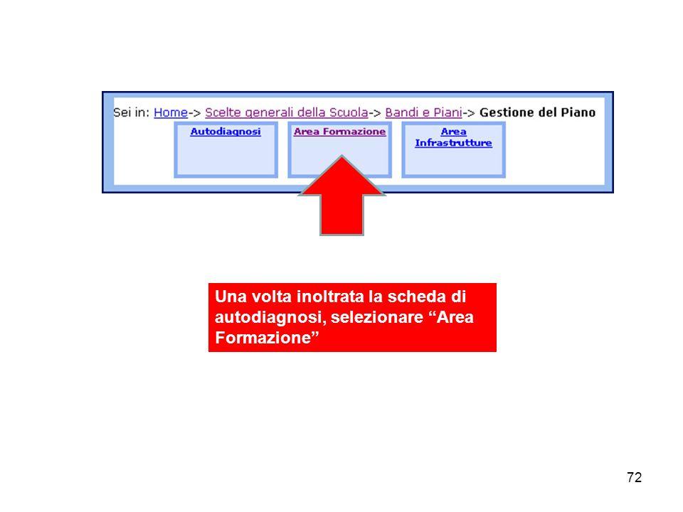 Una volta inoltrata la scheda di autodiagnosi, selezionare Area Formazione