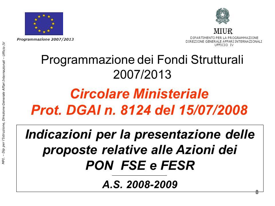 Programmazione dei Fondi Strutturali 2007/2013