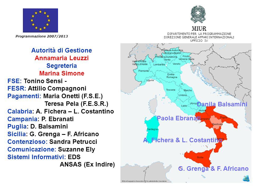 Autorità di Gestione Annamaria Leuzzi Segreteria Marina Simone