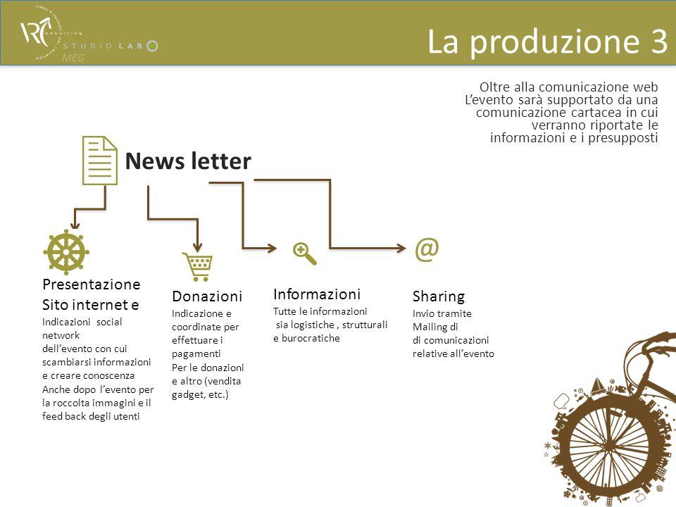 La produzione 3 @ News letter Presentazione Sito internet e Donazioni