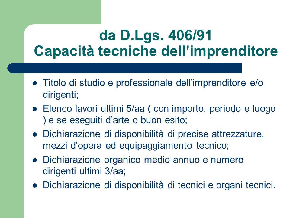 da D.Lgs. 406/91 Capacità tecniche dell'imprenditore