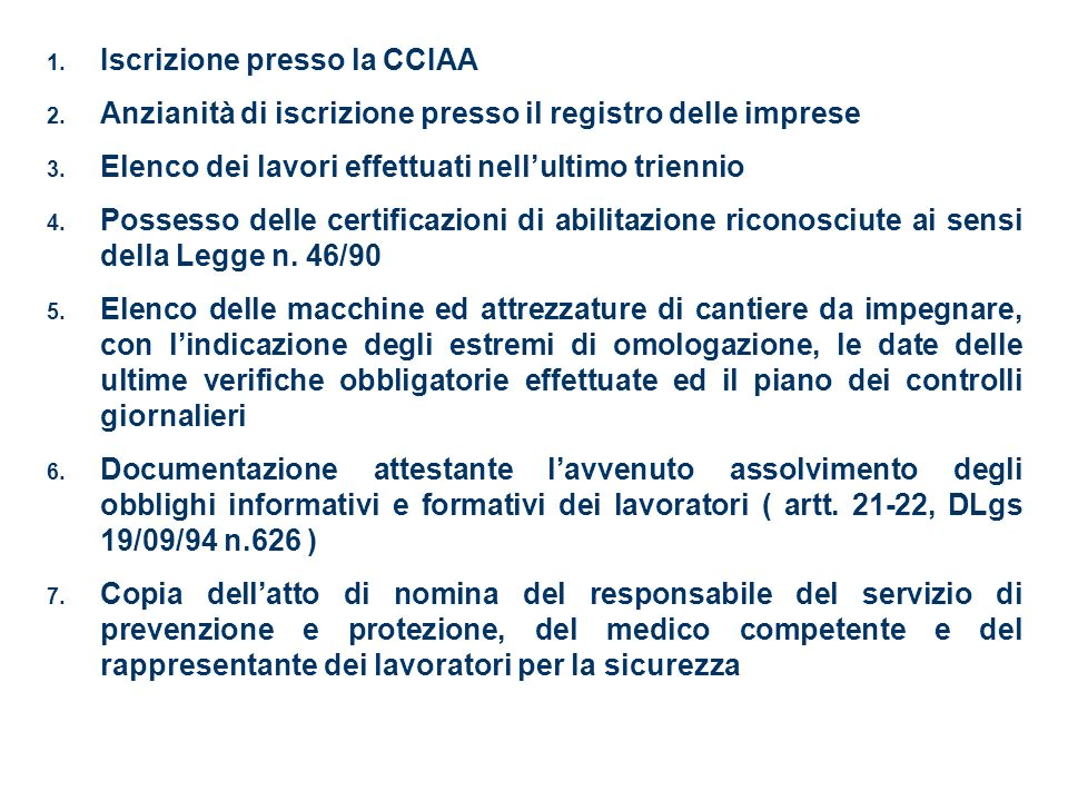 Iscrizione presso la CCIAA