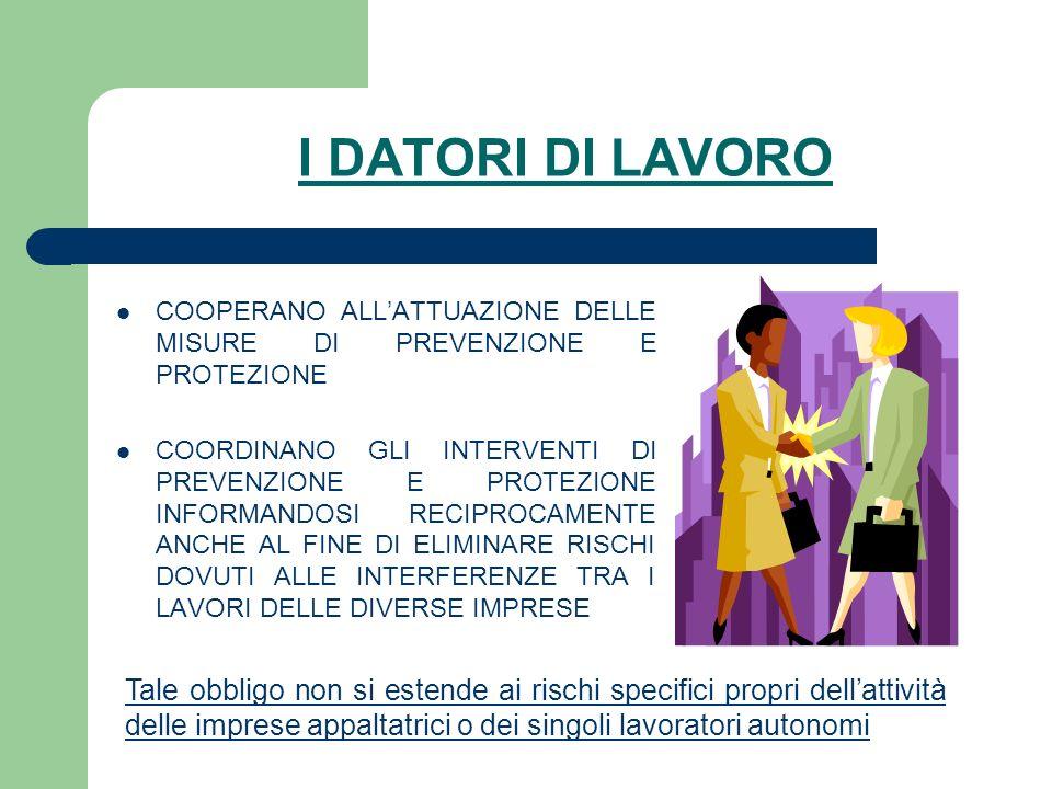 I DATORI DI LAVOROCOOPERANO ALL'ATTUAZIONE DELLE MISURE DI PREVENZIONE E PROTEZIONE.