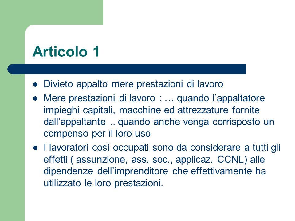 Articolo 1 Divieto appalto mere prestazioni di lavoro