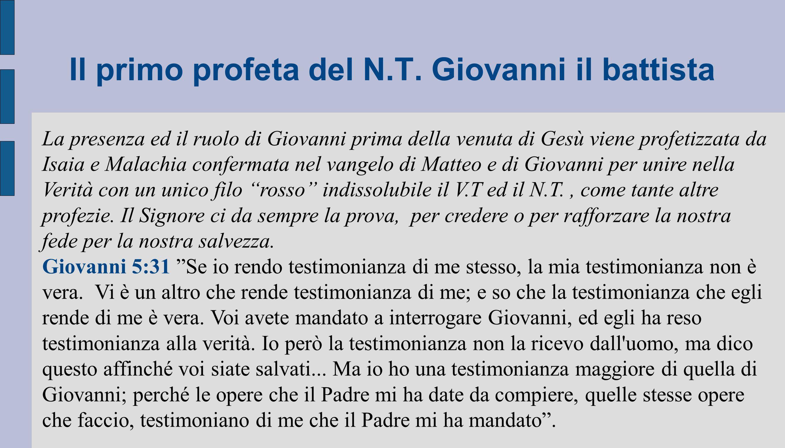 Il primo profeta del N.T. Giovanni il battista