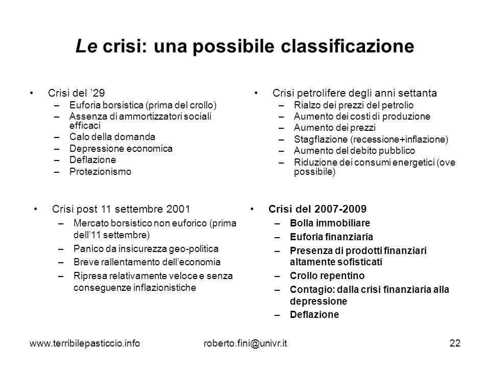 Le crisi: una possibile classificazione