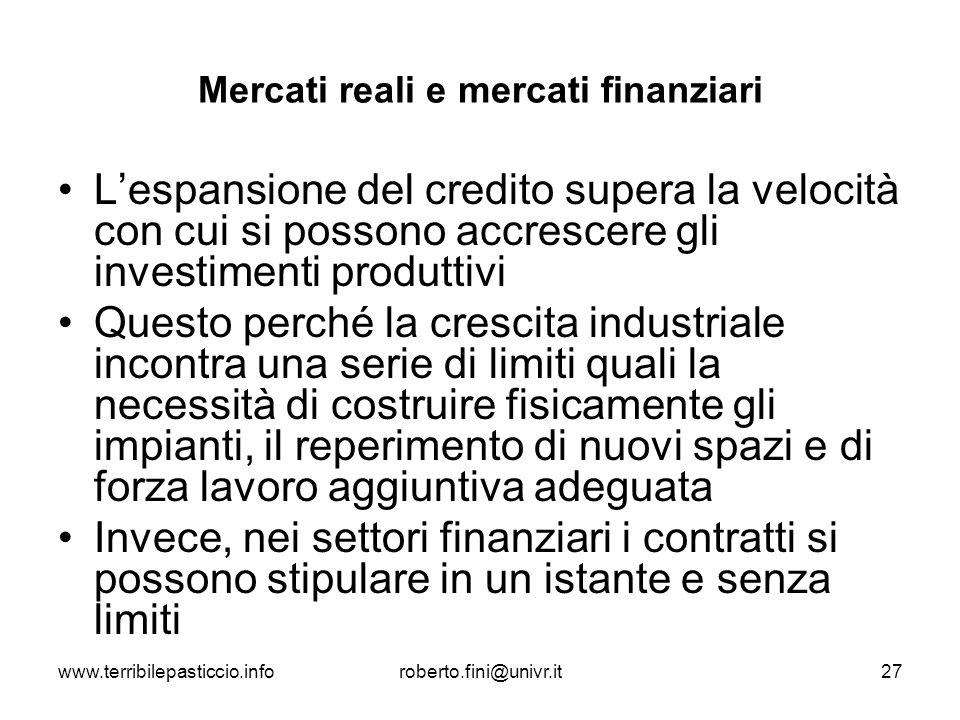 Mercati reali e mercati finanziari