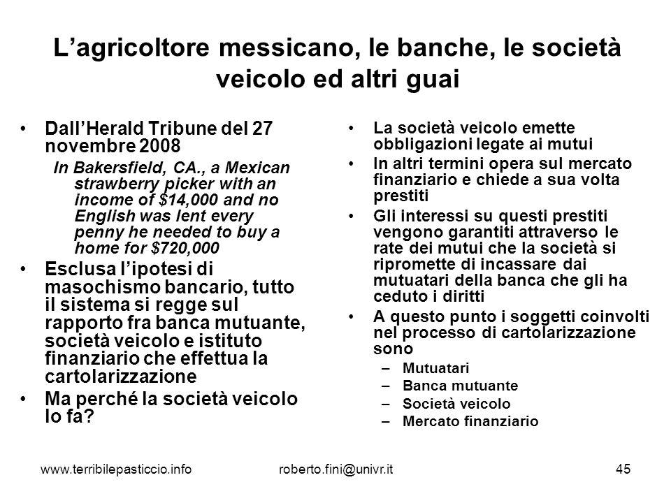 L'agricoltore messicano, le banche, le società veicolo ed altri guai