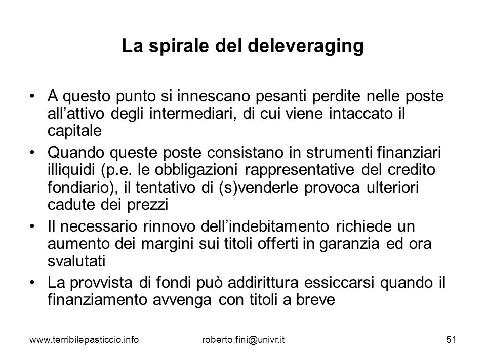 La spirale del deleveraging