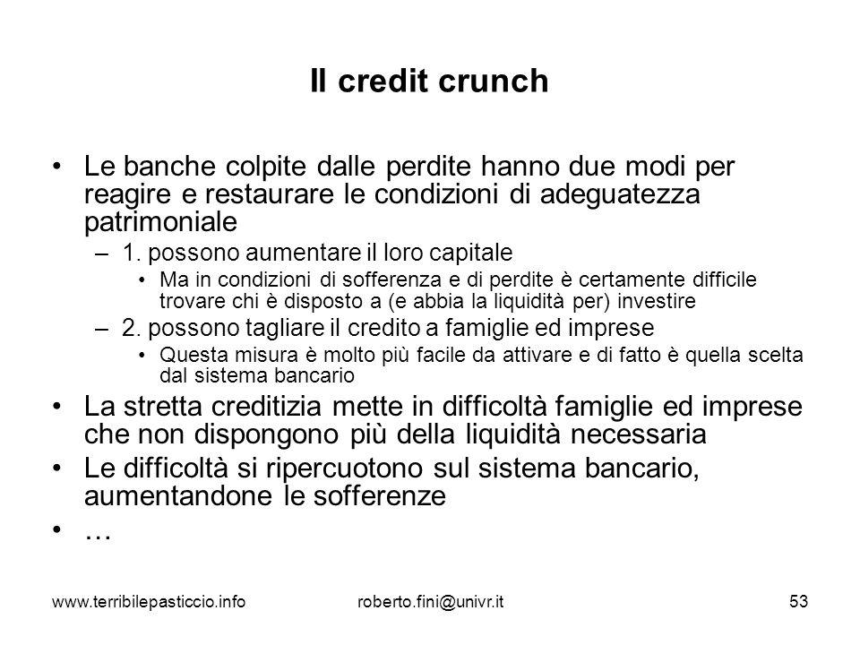 Il credit crunch Le banche colpite dalle perdite hanno due modi per reagire e restaurare le condizioni di adeguatezza patrimoniale.