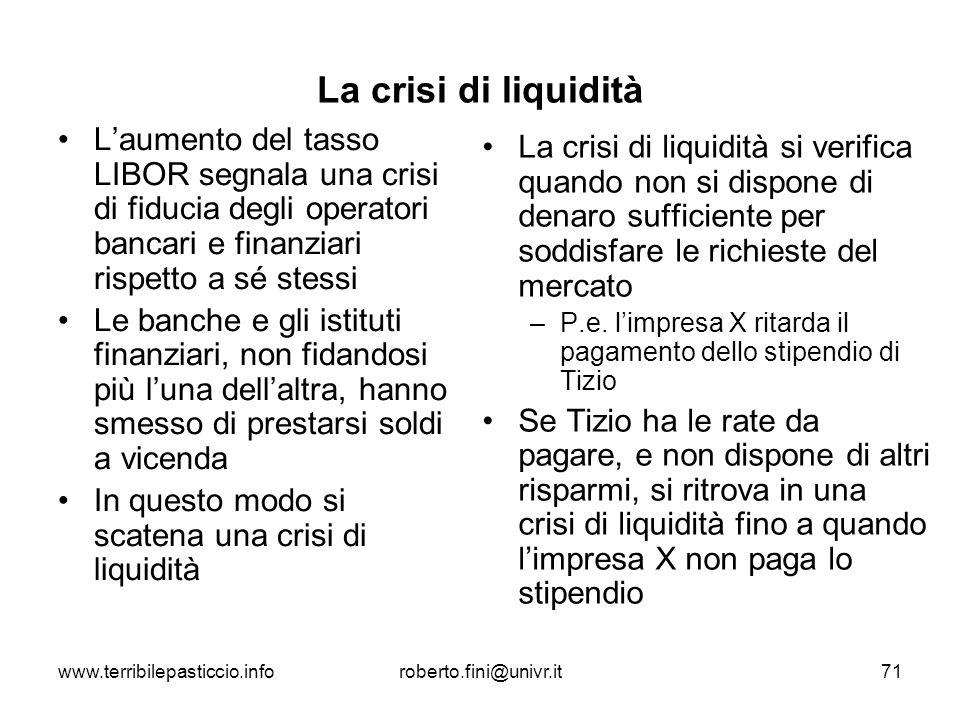 La crisi di liquidità L'aumento del tasso LIBOR segnala una crisi di fiducia degli operatori bancari e finanziari rispetto a sé stessi.