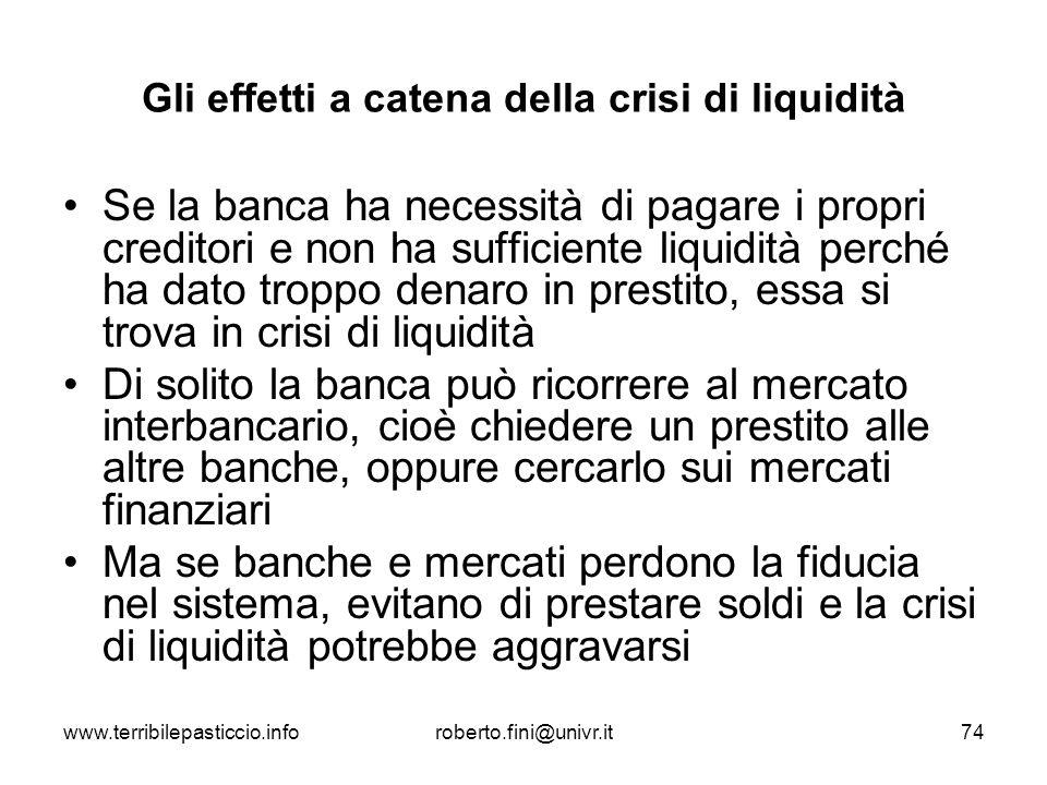 Gli effetti a catena della crisi di liquidità