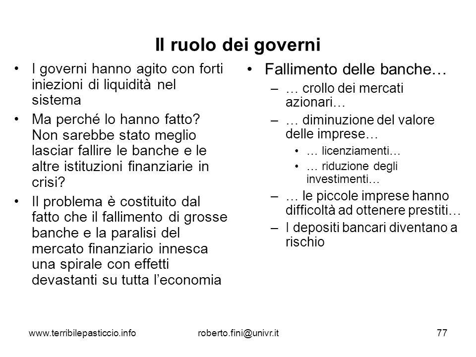 Il ruolo dei governi Fallimento delle banche…