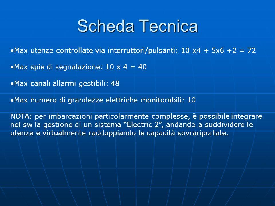 Scheda Tecnica Max utenze controllate via interruttori/pulsanti: 10 x4 + 5x6 +2 = 72. Max spie di segnalazione: 10 x 4 = 40.