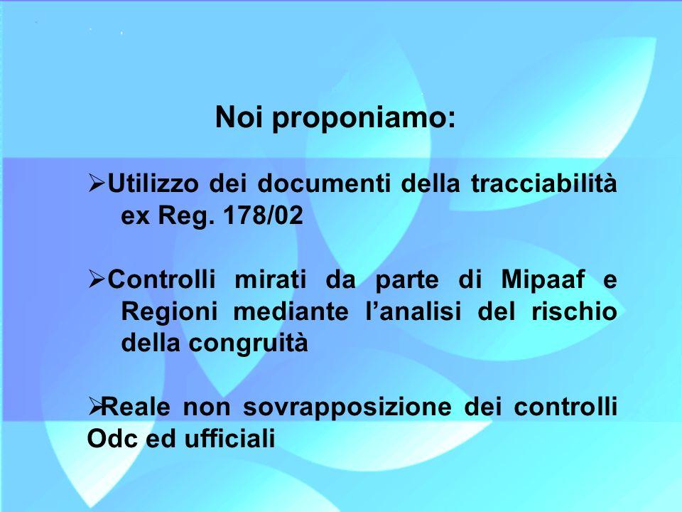 Noi proponiamo: Utilizzo dei documenti della tracciabilità ex Reg. 178/02.