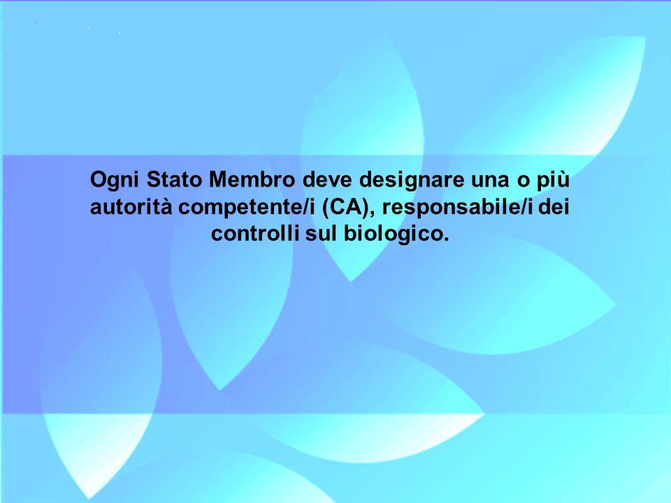 Ogni Stato Membro deve designare una o più autorità competente/i (CA), responsabile/i dei controlli sul biologico.