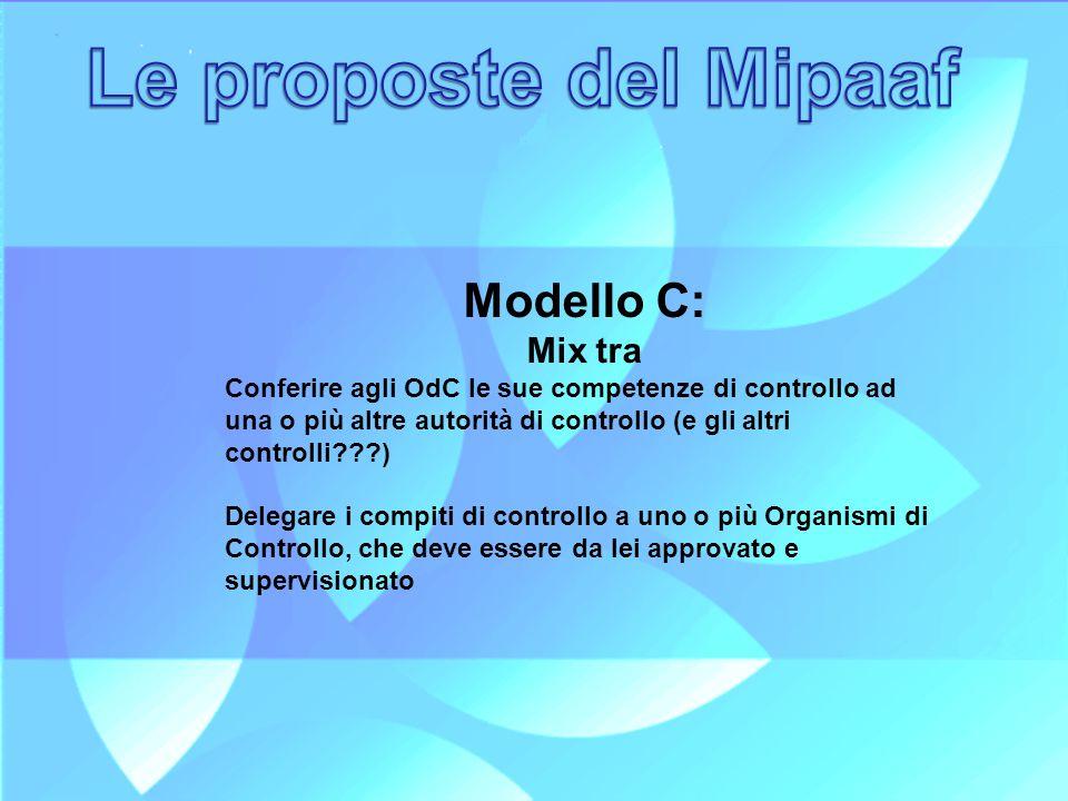 Le proposte del Mipaaf Modello C: Mix tra